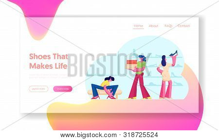 Women In Shoe Market Website Landing Page. Customers Choose And Trying On Shoes In Footgear Store. G
