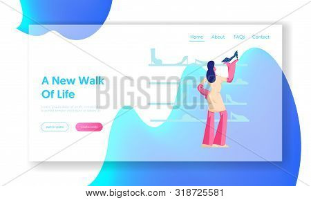 Customer Shopping Spare Time Website Landing Page. Young Woman Watching And Choose Shoes Standing On