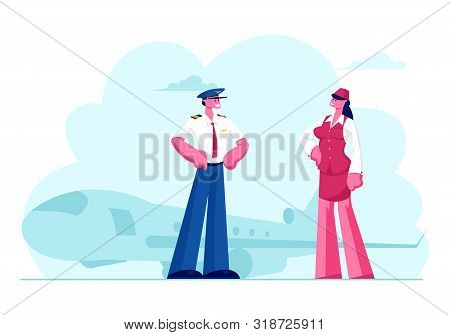 Aviation Aircrew Characters Pilot With Arms Akimbo And Stewardess Wearing Uniform Posing On Airport