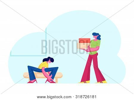 Young Woman Trying On Shoes Sitting On Couch, Saleswoman Carry Boxes With Footgear To Customer In St