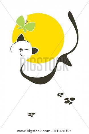 vector image of unconcerned lucky cat