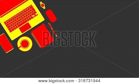 Business Table With Notebook, Cup Of Coffee, Smartphone And Watch - Vector Illustration.