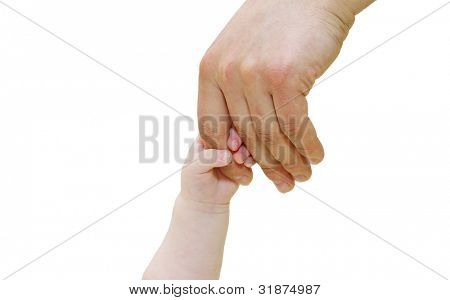 Newborn grasping parent's finger