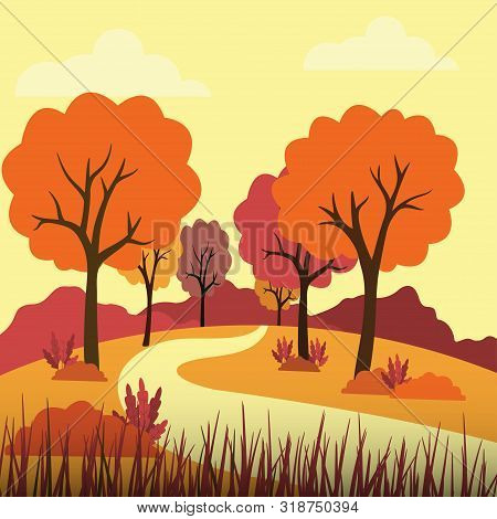 Vector Illustration Of Beautiful Golden Autumn Landscape On Red Yellow Autumn Colors Background In M