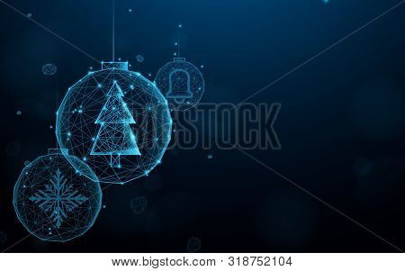 Set Christmas Balls From Lines, Triangles And Particle Style Design. Illustration Vector
