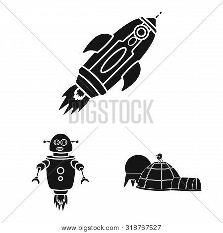Vector Illustration Of Colonization And Sky Symbol. Collection Of Colonization And Galaxy Stock Vect