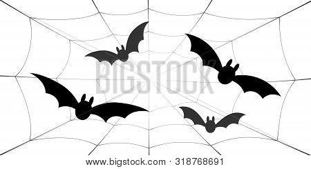 Bat Icons Set. Bat Wings, Black Web Silhouette Isolated White Background. Symbol Halloween Holiday,