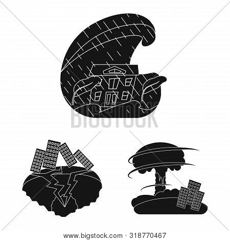 Isolated Object Of Calamity And Crash Logo. Set Of Calamity And Disaster Vector Icon For Stock.