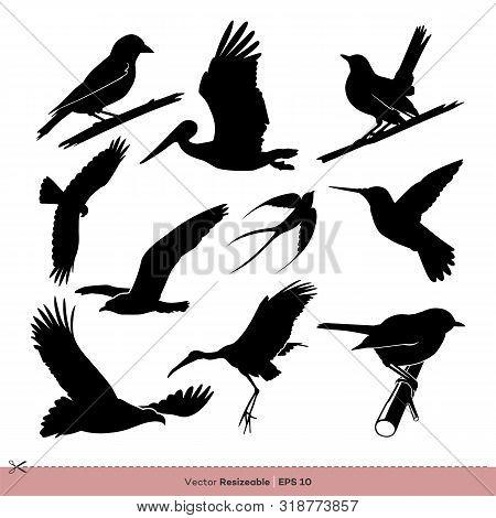 Bird Silhouette Set Vector Logo Template Illustration Design. Vector Eps 10.