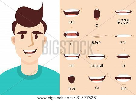 Mouth Animation. Male Talking Mouths Lips For Cartoon Character Animation And English Pronunciation.