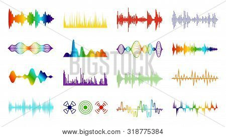 Color Sound Waves. Audio Digital Melody Wave Tracking Meter On White Background In Equalizer Symbol
