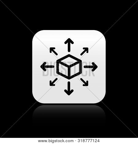 Black Distribution Icon Isolated On Black Background. Content Distribution Concept. Silver Square Bu