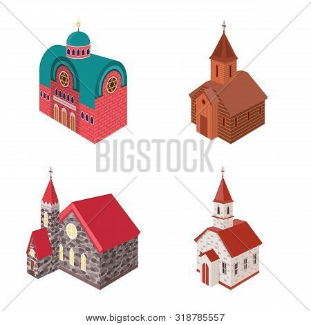 Isolated Object Of Architecture And Building Sign. Collection Of Architecture And Clergy Stock Vecto