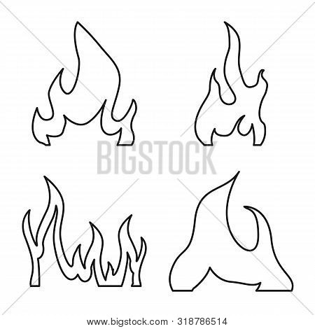 Vector Design Of Blaze And Campfire Symbol. Set Of Blaze And Danger Vector Icon For Stock.