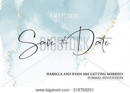 Save The Date Wedding Invitation. Mable Blue Texture With Blue Ink Anf Gold Foil Texture. Boho Brand
