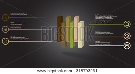3D Illustration Infographic Template With Embossed Cube Vertically Divided To Six Shifted Parts