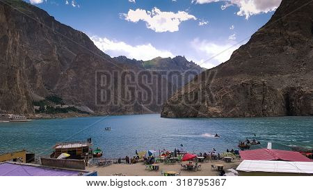 Beautiful Tourist Place And Blue Water Lake, Attabad Lake In Gilgit Baltistan, Pakistan 18/08/2019