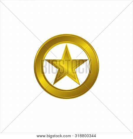 Gold Star Icon Decorated With A Circle. Star Icon, Gold Icon, Star Icon, Star Icon Gold, Star Icon G