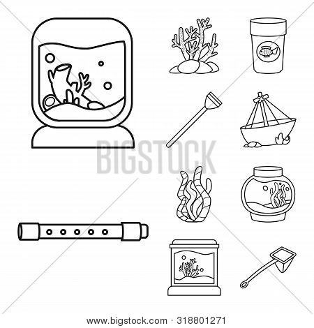 Vector Illustration Of Fishbowl And Accessory Logo. Set Of Fishbowl And Care Stock Vector Illustrati