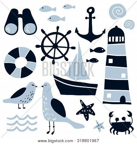 Set Of Nautical Design Elements. Cartoon Nautical Icons. Cute Sea Objects Collection. Hand Drawn Vec