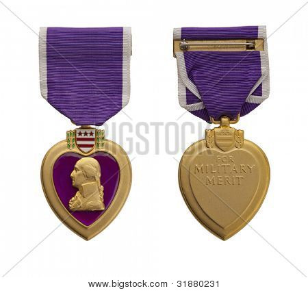 The front and back of a modern US Purple Heart medal.