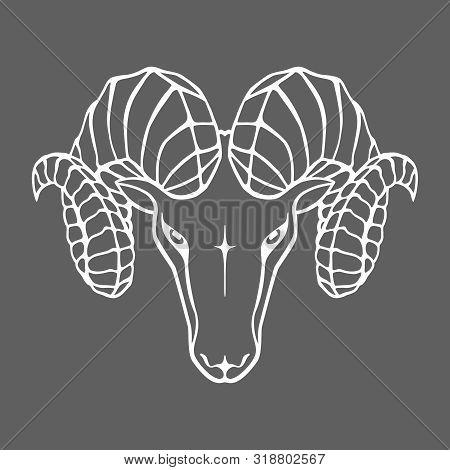 Aries Graphic Icon. Head Ram White Sign Isolated On Gray Background. Symbol Argali. Vector Illustrat