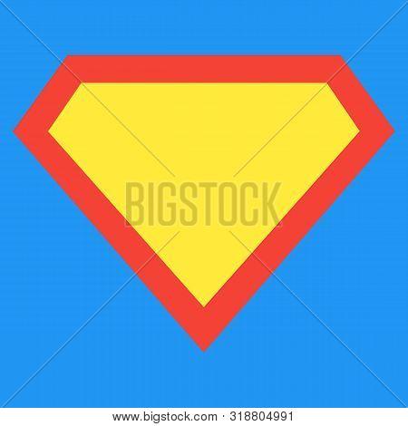 Superhero Logo Template At Bright Blue Background. Superhero Shield Shape Isolated On Blue Backgroun