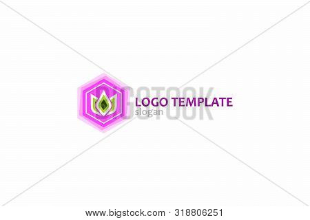 Logo Tamplate With Floral Element. Soft, Beautiful Shades Of Purple With Green. Sign Of The Petals