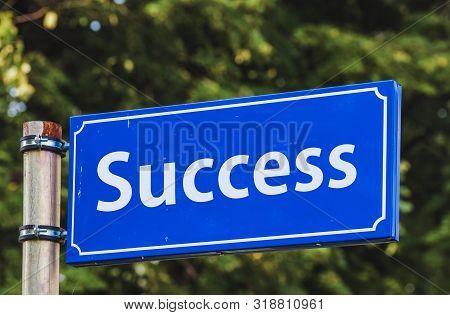Success Blue Road Sign. Road To Success