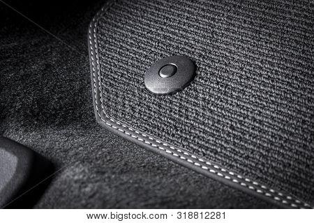 Black Textile Car Mat With Floor Holders In Black Auto Interior