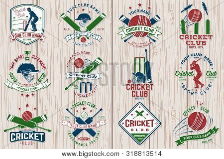 Cricket Club Patch Or Sticker. Vector. Concept For Shirt, Print, Stamp Or Tee. Vintage Typography De