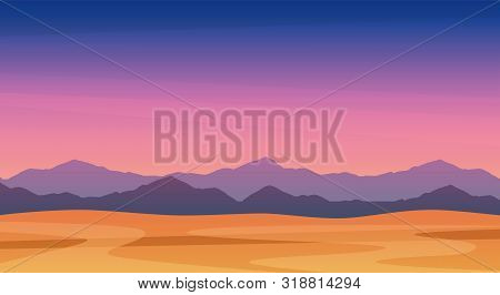 Beautiful Landscape Illustration Of Twilight Mountains, Free Eps Vector Art - Scenic Panorama Of Mou