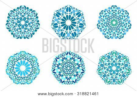 Isolated Colorful Ornate Floral Heptagon Symbol Template Set - Abstract Geometrical Geometric Vector