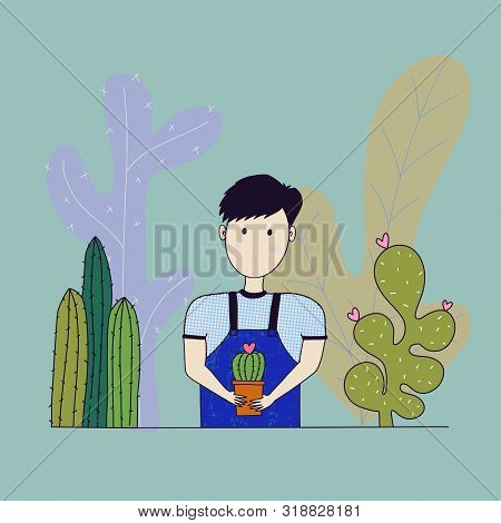 Young Man Hold A Cactus. Male Character
