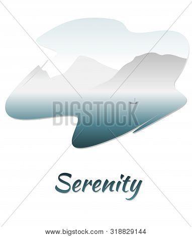 Vector Illustration Of A Serene Mountain Lake