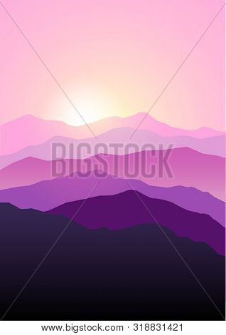 Graphic Illustration Of Mountains Landscape In Beautiful Pink And Purple Colors, Dramatic Scene.