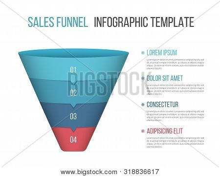 Funnel Diagram With Four Segments, Infographic Template For Web, Business, Presentations, Vector Eps
