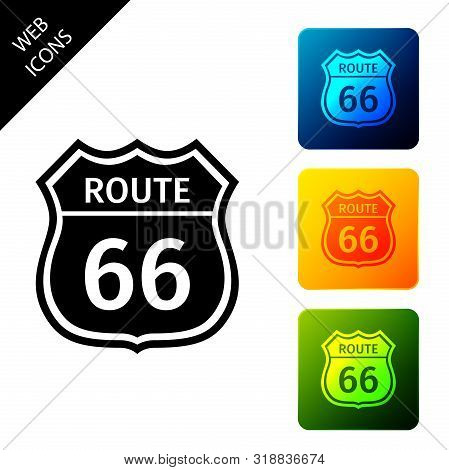 American Road Icon Isolated On White Background. Route Sixty Six Road Sign. Set Icons Colorful Squar