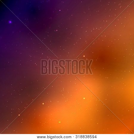 Vector Space Background With Copy Space. Cute Flat Style Template With Stars In Outer Space. Vector