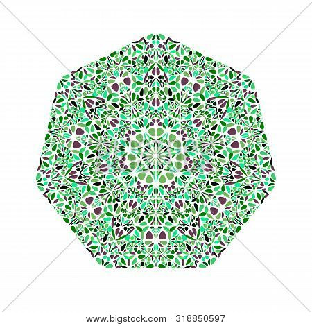 Abstract Isolated Ornate Floral Heptagon Logo Template - Ornamental Geometric Geometrical Vector Ele