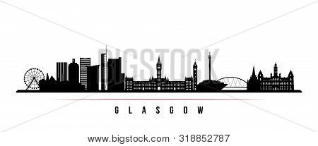 Glasgow City Skyline Horizontal Banner. Black And White Silhouette Of Glasgow City, Scotland. Vector