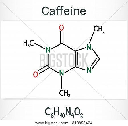 Caffeine Alkaloid Molecule. Structural Chemical Formula And Molecule Model. Vector Illustration