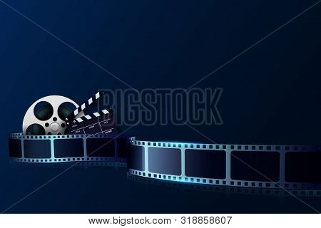 Cinema Film Strip Wave, Film Reel And Clapper Board Isolated On Blue Background. 3d Movie And Film C