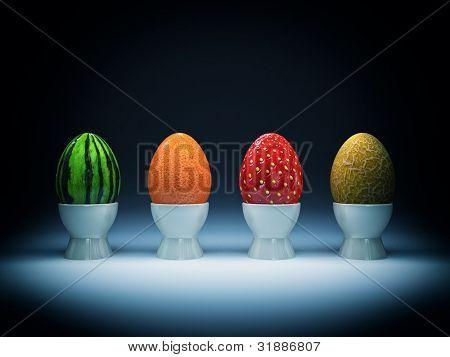 very strange eggs for easter holiday background