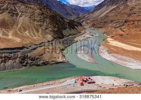 Scenic View Of Confluence Of Zanskar River From Left And Indus Rivers From Up Right - Leh, Ladakh, J