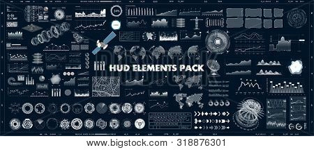 Hud Design Elements Set For Ui Ux Gui Projects. Data And Statistic, Infochart, Infographic, Chart An