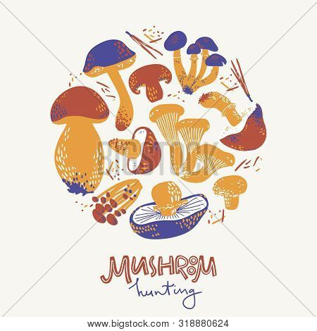 Mushroom Hunring Round Illustration. Linocut Old Style. Hand Drawn Vector Illustration
