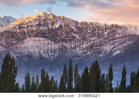 Snow Mountain View Of Leh Ladakh District ,norther Part Of India