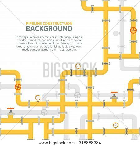 Industrial Background With Yellow Pipeline. Oil, Water Or Gas Pipeline With Fittings And Valves. Web
