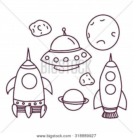 Space Symbols. Universe Galaxy Astrology Moon Stars Shuttle Icons In Vector Circle Shape. Illustrati